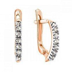Серебряные серьги Хельга с цирконием и позолотой