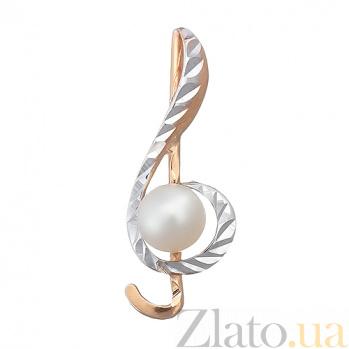Золотой подвес с жемчугом Скрипичный ключ LEL--62159