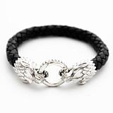 Кожаный браслет Волки с черненой серебряной застежкой