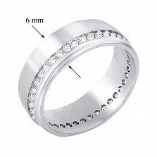 Обручальное кольцо из белого золота с бриллиантами 000129296