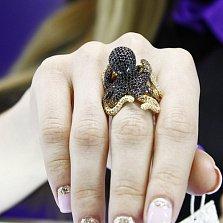 Кольцо из белого золота Осьминог с фианитами