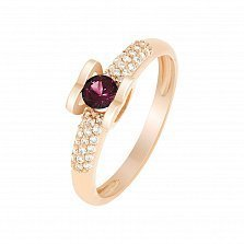 Кольцо в красном золоте Агния с рубином и бриллиантами