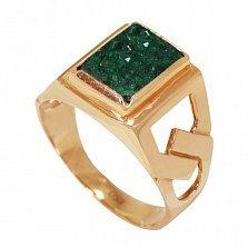 Золотое кольцо Самарканд с синтезированным изумрудом