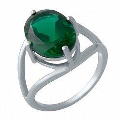 Серебряное кольцо с синтезированным изумрудом и родированием 000128222