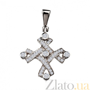 Золотой крестик с бриллиантами Зара KBL--П049/бел/брил