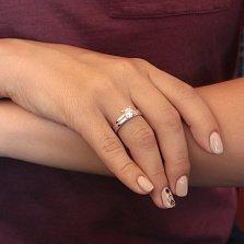 Серебряное кольцо Мой путь с крупным белым фианитом