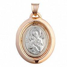 Ладанка из комбинированого золота Богородица с Младенцем