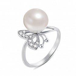 Кольцо из белого золота с жемчужиной и фианитами 000134595