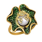 Кольцо из желтого золота Царевна-лягушка с жемчужиной и фианитами