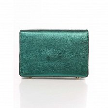 Кожаный клатч Genuine Leather 1812 изумрудного цвета с декоративной пряжкой и плечевым ремнем