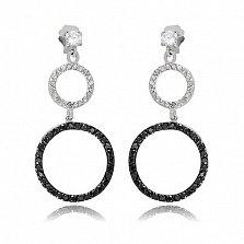 Серебряные серьги-подвески Геометрия роскоши с черным и белым цирконием