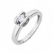 Золотое помолвочное кольцо Аурелия в белом цвете с кастом в виде сердечка и бриллиантом