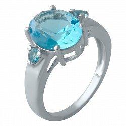 Серебряное кольцо с синтезированными аквамаринами и родированием 000128301