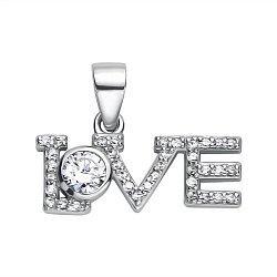 Серебряная подвеска Love c фианитами