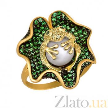 Кольцо из желтого золота Царевна-лягушка с жемчужиной и фианитами VLT--ТТ1020-1