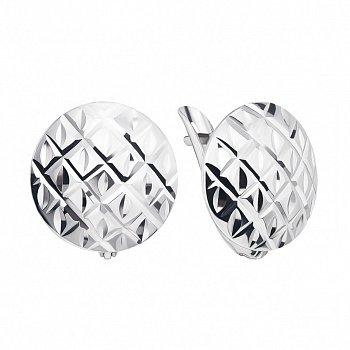 Серебряные серьги с орнаментом и алмазной гранью 000127084