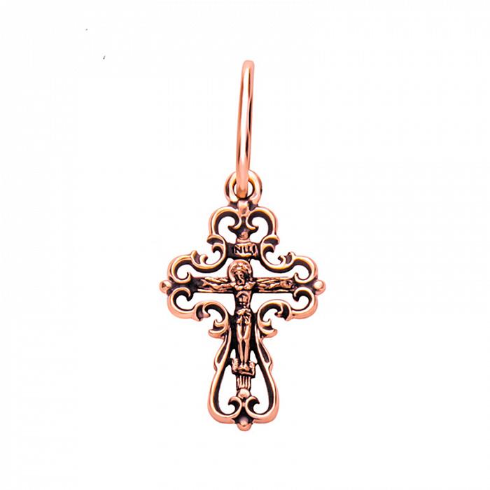 Золотой ажурный крестик с чернением 000101624 000101624