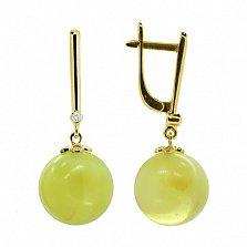 Золотые серьги-подвески Дженифер с янтарем и бриллиантами
