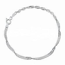 Серебряный браслет Фламенко с родированием, 2 мм