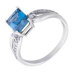 Серебряное кольцо Агафия с голубым кварцем и фианитами