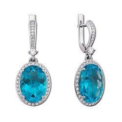 Серебряные серьги-подвески Лили с голубым кварцем и цирконием 000012629