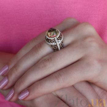 Кольцо из золота и серебра Сусанна с кварцем и цирконием 000030053