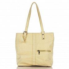 Кожаная сумка на каждый день Genuine Leather 8694 желтого цвета с длинными ручками