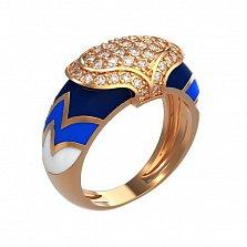Кольцо в красном золоте Айгуль с эмалью и фианитами