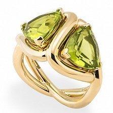 Кольцо Hausmann из желтого золота с хризолитами