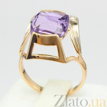 Золотое кольцо с аметистом и фианитами Винсентия VLN--112-784-4