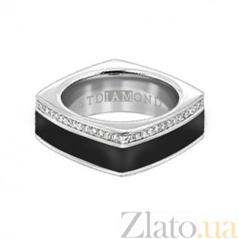 Золотое кольцо в белом цвете с бриллиантами и эмалью Утро и вечер 000029691