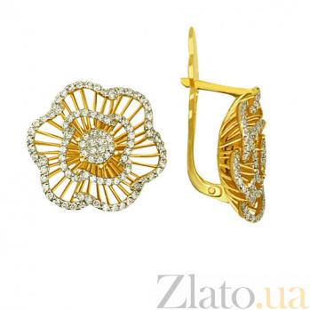 Серьги из желтого золота с цирконием Гиацинт VLT--ТТ287-1