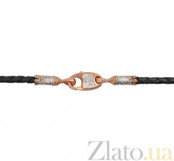 Кожаный шнурок с золотой застежкой Микадо VLT--КШ618