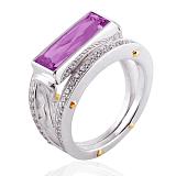 Эксклюзивное кольцо Geometry с аметистом и бриллиантами