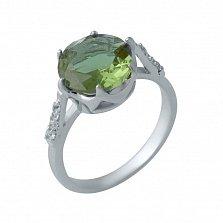 Серебряное кольцо Эльми с кастом-короной, корундом и фианитами