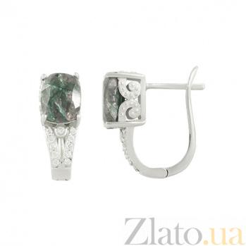 Серебряные серьги с раухтопазом и фианитами Николь 3С934-0091