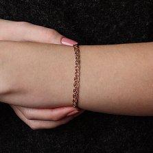 Золотой браслет Грациозность в плетении Нонна Бисмарк с родированием