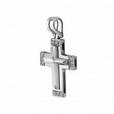 Крестик из белого золота Вайолет с бриллиантами