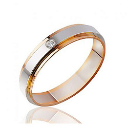 Обручальное кольцо в комбинированном цвете золота с бриллиантом 000001610