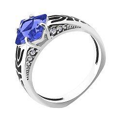 Серебряное кольцо с синим алпанитом, черной эмалью, фианитами и родием 000096949