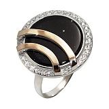Кольцо из серебра Утро с золотом, авантюрином и фианитами
