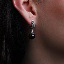 Серебряные серьги-подвески Беретки с ониксом