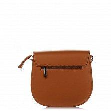 Кожаный клатч Genuine Leather 1628 коньячного цвета с декоративной брошкой на клапане