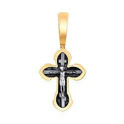 Серебряный крестик с чернением и позолотой 000073490