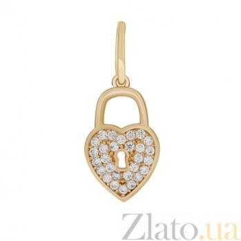 Золотой подвес с фианитами Замочек 000023334