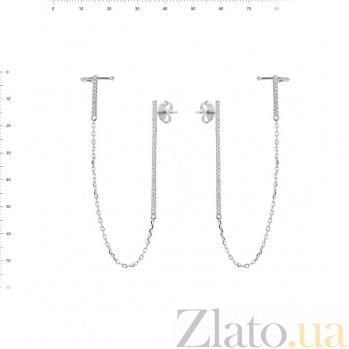 Серебряные серьги-каффы Жюстин с фианитами 000081797