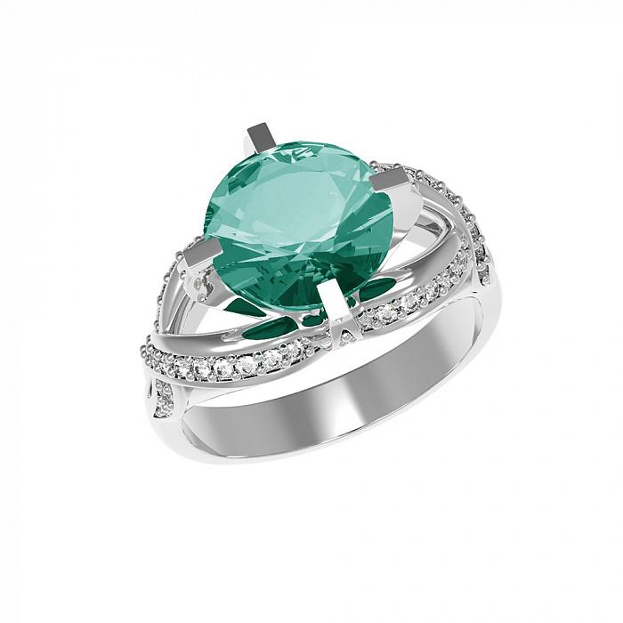 Серебряное кольцо Нинель с зеленым кварцем и фианитами 000079722