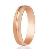 Золотое обручальное кольцо полуматирированное Люблин с фианитом