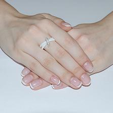 Кольцо из белой керамики с фианитами Мерсин