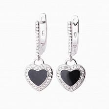 Серебряные серьги Сердечки с ониксом и фианитами